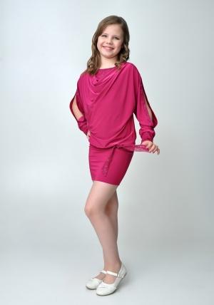 """Элегантное платье """"Анастасия"""" цвета фуксии.Красивое платье с длинным рукавом, короткой юбкой. Оригинальный наряд для настоящих модниц. Идеальный наряд для любого праздника."""