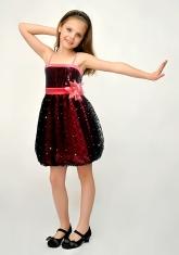 """Нарядное платье """"Кристи"""" кораллово-черного цвета с болеро."""