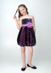 """Нарядное платье """"Кристи"""" сиренево-черного цвета с болеро."""