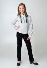 Детская блузка белого-серого цвета с черным кружевом и длинным рукавом.