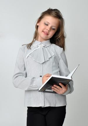 Осенняя школьная распродажа! Детская блузка бело-серого цвета с длинным рукавом и манишкой.Нарядная блуза спереди украшена красивой и нежной манишкой. Блузку можно носить в повседневной жизни и в школу.