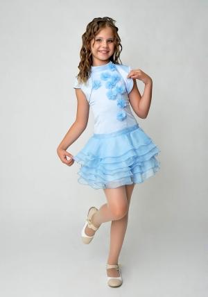 """Элегантное платье """"Лиззи"""" голубого цвета с болеро.Очень красивое и очаровательное платье нежного цвета. Оригинальный покрой платья, украшенное шифоновыми цветами и короткой юбкой с воланами. Платье для настоящих модниц!"""