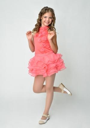 """Элегантное платье """"Лиззи"""" кораллового цвета с болеро.Очень красивое и очаровательное платье нежного цвета. Оригинальный покрой платья, украшенное шифоновыми цветами и короткой юбкой с воланами. Платье для настоящих модниц!"""