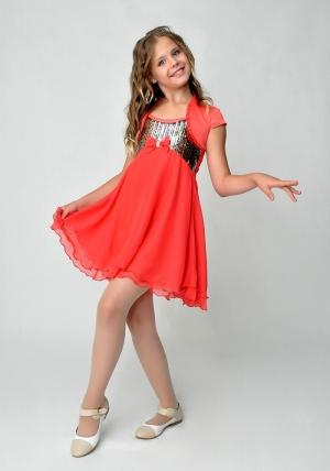 """Нарядное платье """"Эстель"""" алого цвета с болеро.Шифоновое платье украшенное пайетками с атласным болеро. Легкое и красивое платье идеально для любых торжеств и праздников."""