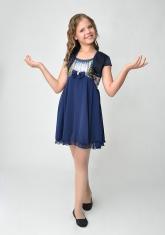 """Нарядное платье """"Эстель"""" темно-синего цвета с болеро."""
