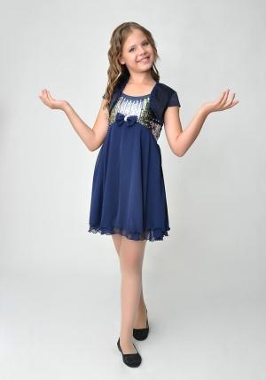 """Нарядное платье """"Эстель"""" темно-синего цвета с болеро.Шифоновое платье украшенное пайетками с атласным болеро. Легкое и красивое платье идеально для любых торжеств и праздников."""