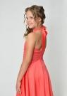 """Нарядное платье с перчатками """"Ангелина"""" кораллового цвета."""