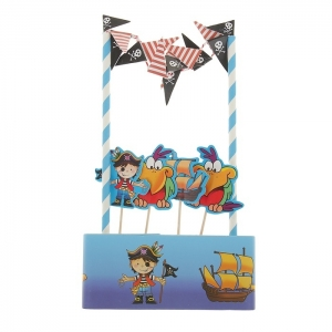 """Набор """"Пираты"""" с гирляндой, пиками и лентой для торта.Данный набор непременно порадует именника и его гостей и станет отличным напоминанием о проведенном вместе времени.Набор """"Пираты"""" включает в себя: 1 гирлянда, 4 шт. пики, 1 шт. лента для торта 100 см d- 30 см."""