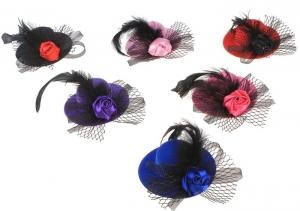 """Зажим-шляпка """"Сказка"""".Зажим-шляпка, прекрасное дополнение к любому наряду для вашей красотки. Шляпка на заколке, поэтому хорошо держится на голове. Красивый и оригинальный аксессуар на голову."""