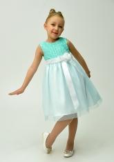 """Нарядное платье для малышек """"Розочки"""" нежно-бирюзового с белым."""