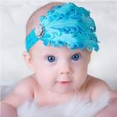 Детская повязка с перьями лазурного цвета.