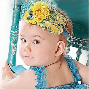 Детская повязка с перьями желто-синего цвета.Нарядная повязка с перьями для девочек. Повязка эластичная, хорошо тянется. Данная повязка для малышек идеальна для фотосессий.