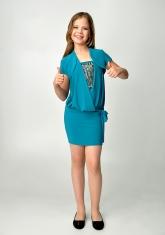 """Элегантное платье """"Кира"""" бирюзового цвета с болеро."""