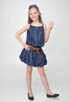 """Джинсовый сарафан """"Арина"""" из темной джинсы.Красивый и удобный сарафан для девочек. Каждая девочка будет чувствовать себя в нем уютно и комфортно. Сарафан из тонкой джинсы с юбкой баллон внизу и поясом на талии."""