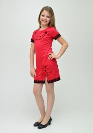 """Нарядное платье """"Парижанка"""" красного цвета с черным кружевом.Трикотажное оригинальное платье с бантиками и украшением. Красивое и модное платье для настоящих модниц. Данный наряд идеален для любых праздников и торжеств."""