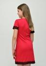 """Нарядное платье """"Парижанка"""" красного цвета с черным кружевом."""