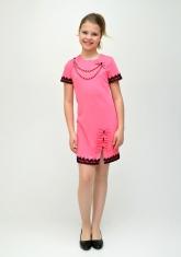 """Нарядное платье """"Парижанка"""" розового цвета с черным кружевом."""