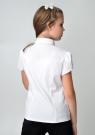 Детская блузка с жабо белого цвета с коротким рукавом.