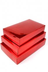 Подарочная коробка прямоугольная-голографическая красного цвета.