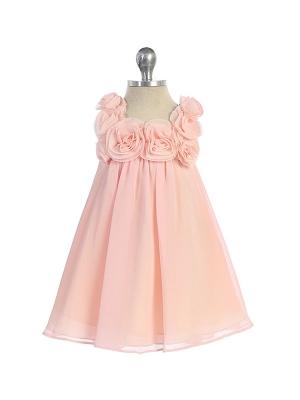 """Нарядное шифоновое платье """"Дарлин"""" нежно-розовогоцвета.Нежное и очаровательное платье из шифона, вверх платья украшен розочками. В таком наряде ваша малышка будет самой очаровательной и привлекательной."""