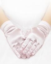 Розовые атласные перчатки.