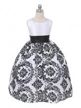 """Нарядное платье """"Элина"""" бело-черного цвета с поясом."""