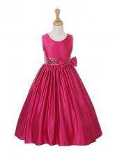 """Нарядное платье """"Триана"""" малинового цвета с бантом на поясе."""