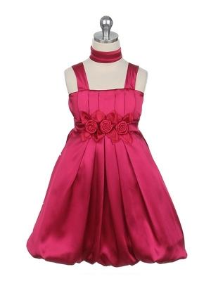 """Нарядное платье """"Эдит"""" цвета фуксии с шарфиком.Оригинальное и красивое платье, с широкими лямками и цветочками на талии. Дополняет платье нежный шарфик. В этом платье на любом празднике или вечеринке ваша юная леди будет сиять и чувствовать себя красавицей! длина платья указана с лямками."""