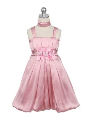 """Нарядное платье """"Эдит"""" цвета чайной розы с шарфиком.Оригинальное и красивое платье, с широкими лямками и цветочками на талии. Дополняет платье нежный шарфик. В этом платье на любом празднике или вечеринке ваша юная леди будет сиять и чувствовать себя красавицей! длина платья указана с лямками."""