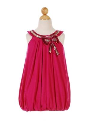 """Нарядное платье """"Джуди"""" малинового цвета.Вверх платья украшен красивым бантом из паеток. Легкое и изящное платье для настоящих модниц!"""