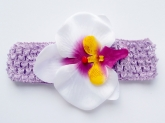 Цветок орхидея белого цвета с яркой сердцевинкой на повязке.
