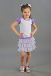 "Нарядная блузка светло-сиреневого цвета с коротким рукавом ""фонарик""."