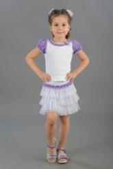 "Нарядная блузка бело-сиреневого цвета с коротким рукавом ""фонарик""."