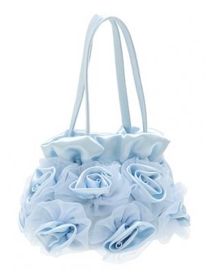 Модная сумочка с атласными и шифоновыми розочками. Нежного цвета сумочка под любой наряд. Оригинальная сумочка для настоящих модниц! Прекрасный аксессуар, дополнение к любому наряду.