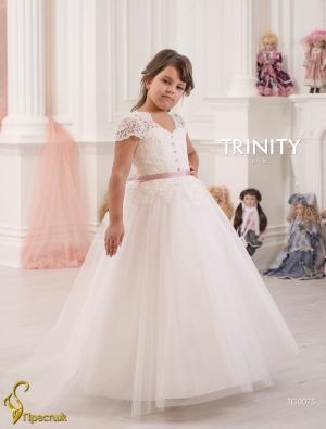 """Бальное платье """"Анита"""" с кружевом и пышной юбкой.Шикарное бальное платье для девочек, идеально для праздничного бала, а также для любых торжеств! Само платье корсетного типа, идеально для девочек разного возраста. Оригинальный вверх платья радует своей красотой. Длина платья указана от плеча.К этому платью подъюбник продается отдельно."""