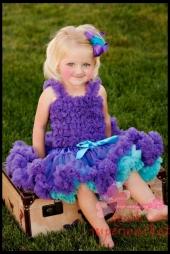 Комплект фиолетово-бирюзового цвета с пышной юбочкой Pettiskirt и топом с рюшами.