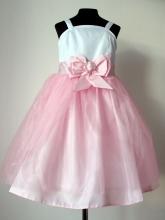 """Нарядное платье """"Василиса"""" бело-розового цвета с бантом на поясе."""