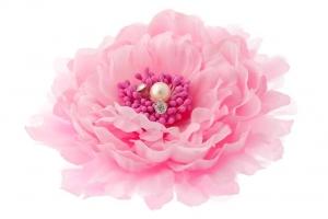"""Брошь-заколка """"Пион"""" розового цвета.Очень красивый и пышный цветок с сердцевиной. Сам цветок на заколке и булавке, что очень удобно, можно носить на голове, а можно и на шапочке и повязке, а так же украсить любой наряд.Диаметр цветка 13 см."""