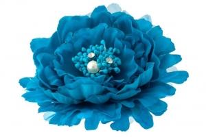 """Брошь-заколка """"Пион"""" лазурного цвета.Очень красивый и пышный цветок с сердцевиной. Сам цветок на заколке и булавке, что очень удобно, можно носить на голове, а можно и на шапочке и повязке, а так же украсить любой наряд.Диаметр цветка 13 см."""