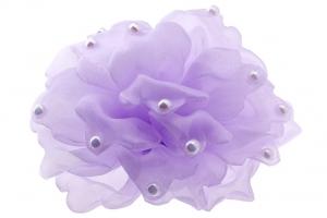 Школьный бант сиреневого цвета на резинке.Красивый аксессуар для волос.Диаметр цветка 14 см.