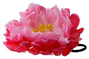 """Большой цветок """"Пион"""" розово-малинового цвета на резинке.Очень красивый и пышный цветок с сердцевиной.Диаметр цветка 17 см."""