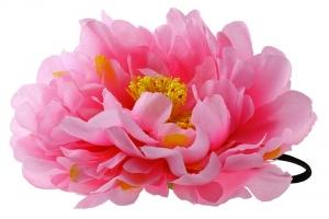 """Большой цветок """"Пион"""" розового цвета на резинке.Очень красивый и пышный цветок с сердцевиной.Диаметр цветка 17 см."""