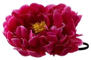 """Большой цветок """"Пион"""" цвета фуксии на резинке.Очень красивый и пышный цветок с сердцевиной.Диаметр цветка 17 см."""