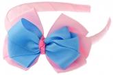 Ярко-розовый ободок с голубо-розовым бантиком.