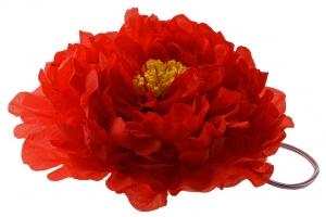 """Большой цветок """"Пион"""" красного цвета на резинке.Очень красивый и пышный цветок с сердцевиной.Диаметр цветка 17 см."""