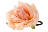 """Цветок на голову """"Роза"""" Real Touch персикового цвета на резинке."""