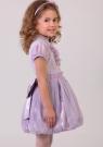 """Нарядная блузка сиреневого цвета с коротким рукавом """"фонарик"""" и воротником-стойкой.."""