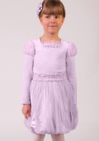 """Нарядная блузка сиреневого цвета из велюра с длинным рукавом """"фонариком""""."""