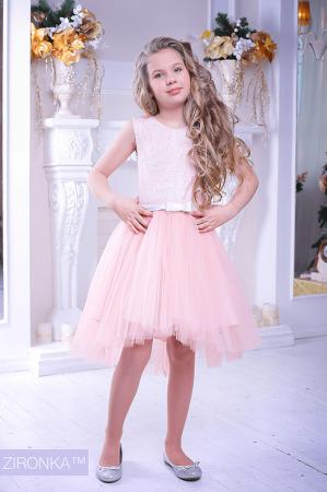 """Нарядное платье """"Варвара"""" персикового цвета.Нарядное платье без рукавов, с пышной юбкой. Оригинальный принт платья, придает яркость и красоту. Красивое платье для настоящих модниц! Оригинальное и красивое платье для любого торжества! Вверх платья из полиэстера, подкладка из хлопка, юбка из нескольких слоев, что придает пышность."""
