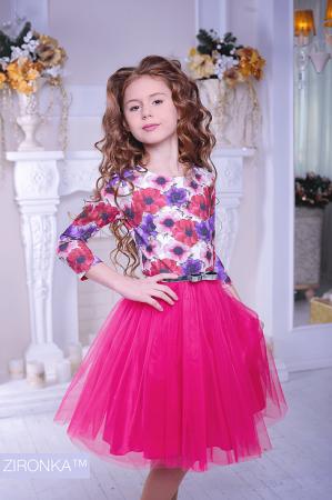 """Нарядное платье """"Майя"""" малинового цвета.Оригинальный принт платья, придает яркость и красоту. Красивое платье для настоящих модниц! Оригинальное и красивое платье для любого торжества! Вверх платья из полиэстера, подкладка из хлопка, юбка из нескольких слоев, что придает пышность."""